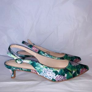 Kelly & Katie Floral Print Slingback Kitten Heels